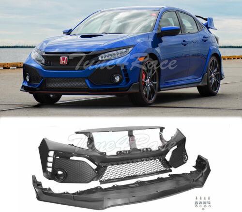 For 16-18 Honda Civic Coupe Sedan Type-r Style Front Bumper Unpainted Fascia Set