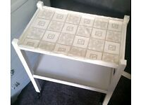 Vintage Retro Shabby Chic TROLLEY, Painted in Annie Sloan Antique White + 2 crochet mats