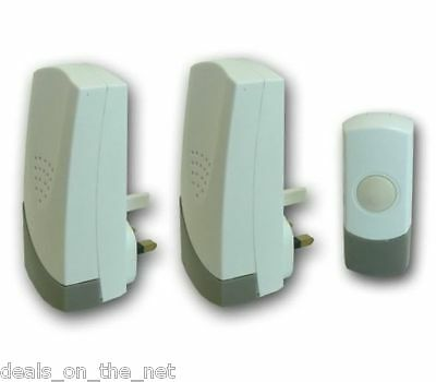Wireless Door Bell Push Cordless Mains Plug In Chime Kit Set 50M Range Doorbell