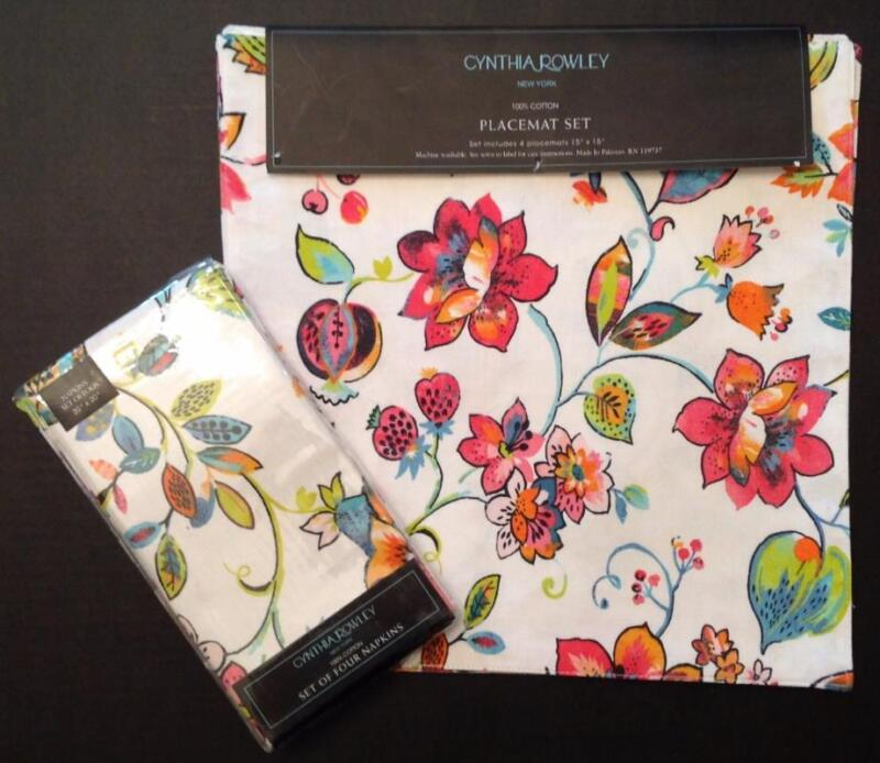 Cynthia Rowley Floral Placemats Napkins 4 Sets NWT Floral Hot Pink Turquoise 8Pc
