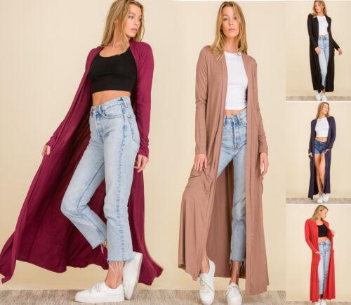 Premium Jersey Knit Duster Cardigan Maxi Full Length Long Sleeve Open Sweater