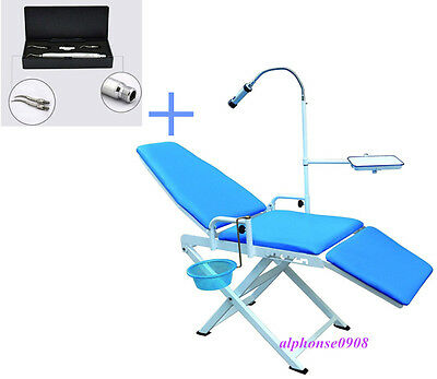 Portable Folding Dental Chair Led Light Dental Air Scaler Handpiece 2 Holes