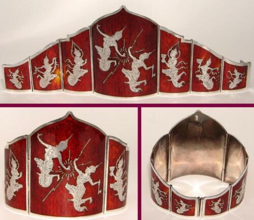 86.4 gr. Vintage SIAM STERLING Wide PANEL BRACELET Red Enamel LIGHTNING DANCER