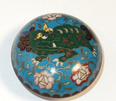 RARE JAPANESE CLOISONNE ENAMEL FOO DOG SNUFF JAR BOWL BOX