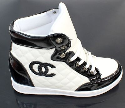 Keilabsatz Sneaker Sportschuhe Hidden Wedges Stiefeletten Schwarz%%Weiss@!@!++{}