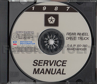 1987 Dodge Pickup Truck Shop Manual CD D150 D250 D350 Ramcharger W150 W250 W350