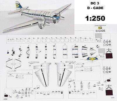 Kartonmodell Papiermodell Bastelbogen - Douglas DC-3 Lufthansa D-CADE - 1:250