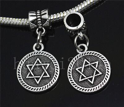 Silver Circular Bracelets - 6/30/100pcs Antique Silver Circular Star Bulk Dangle European Charms Bracelet