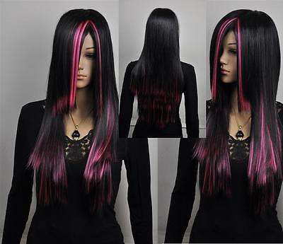 NEW pink red black mixed long straight cosplay wig+gift+cap on Rummage