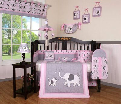 Diaper Crib Set (Pink Gray Elephant 13 pcs Crib Bedding Set Baby Girl Nursery Quilt Bumper)