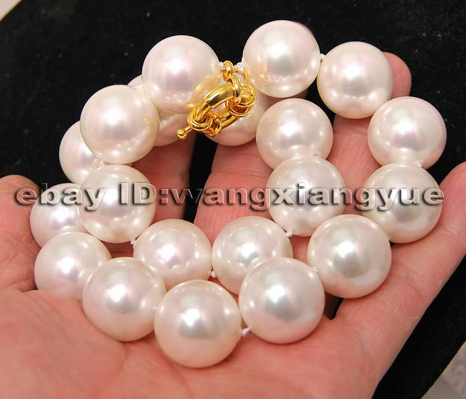 """Long 16-24/"""" Huge 20MM White Shell Pearl Round Beads Necklace AAA+ Wonderful"""