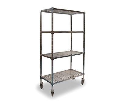 Wire Cart 2hdf3 4 Shelf 72x24x70 Chrome