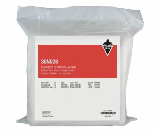"Grainger 30N528 Tough Guy Polyester Cleanroom Wiper 9"" x 9"" QTY 1500"