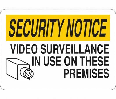 Security Notice Video Surveillance In Use On These Premises 35gg60 Sign 5x7