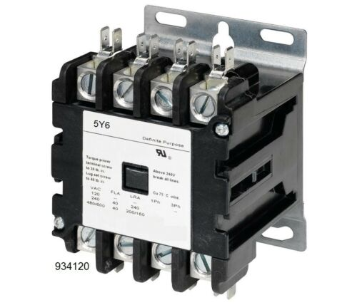 40A DEFINITE PURPOSE CONTACTOR 40AMP 4POLE 24V COIL, 40AMP FLA 50A RES HVAC 30A