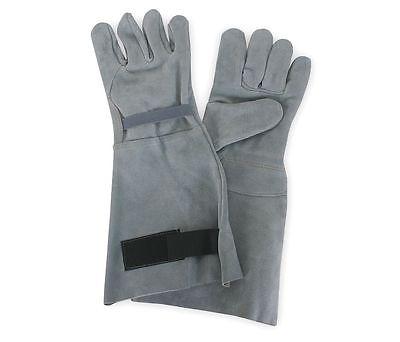 """Shoulder Split Leather Work Gloves, 8"""" Gauntlet Cuff, Gray, Large"""
