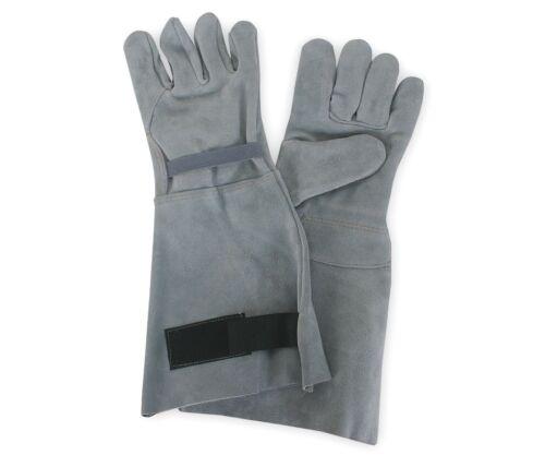 "Condor 8"" Gray Split Leather Work Gloves Gauntlet Cuff Gray Size Large 4TJU2"