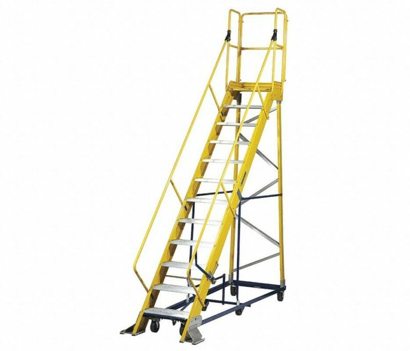 FW24125MRJ112-STEP ROLLING LADDER, SERRATED STEP TREAD, 1561/2 IN OVERALL HEIG