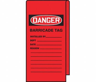 """Accuform TAT116 Danger Tags   Barricade Tag   12"""""""" x 3-1/8""""   74 Tags"""