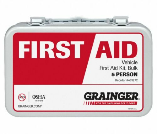 (METAL) GRAINGER 5 Person OSHA Vehicle First Aid Kit #463L72, Model# 59291, 75ct