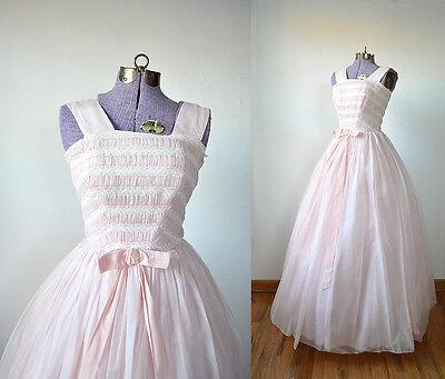 1950s Vintage Prom Dress Pink 50s Dress Lace Dress Pink Party XS XXS Womens