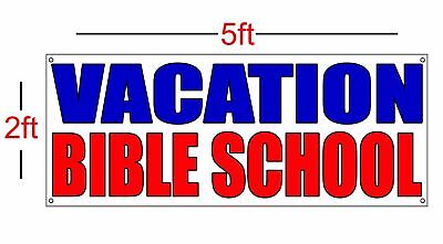 VACATION BIBLE SCHOOL Vinyl Banner Sign 13oz 2ft x 5ft Church Daycare Bible](Vbs Banner)