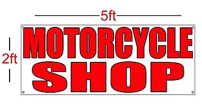 MOTORCYCLE SHOP Vinyl Banner Sign 13oz 2ft x 5ft Best Price and (Best Banner And Sign)