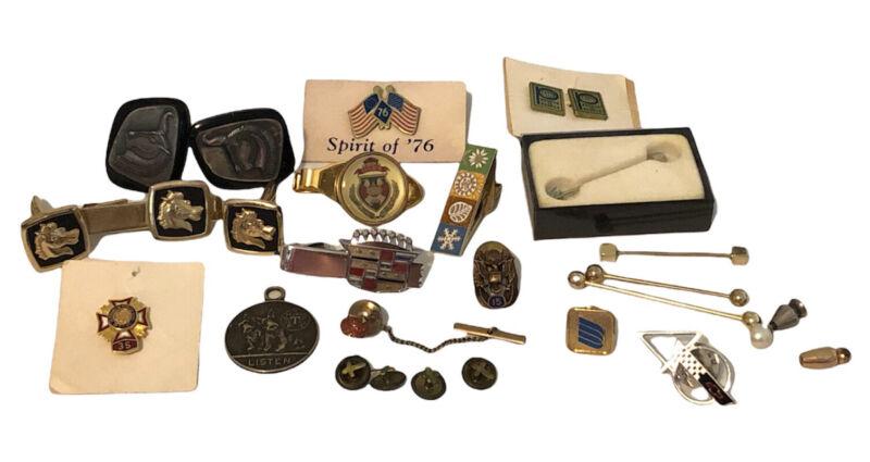 Vintage Mens jewelry lot Tie Clasp cufflinks Swank Texaco Auto Cross Collar Pins
