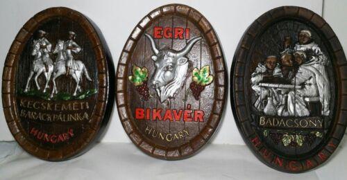Vintage Set - Bar Liquor Wine Sign, Wall Decor, Barrel 3d Relief Plaques Hungary