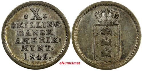 Danish West Indies Christian VI Silver 1845 10 Skilling Mint-97,000 Toning KM#16
