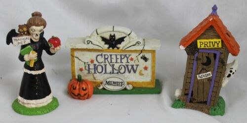 Creepy Hollow Sign, Witch, and Outhouse - Halloween