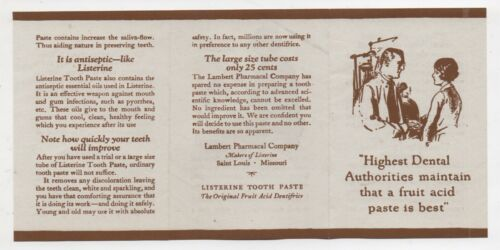 1920s Advertising Brochure for Listerine Tooth Paste