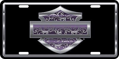 Harley Davidson Purple Filigree Embossed Metal Vanity Car License Plate Auto Tag