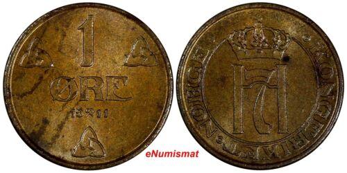 Norway Haakon VII Bronze 1911 1 Ore UNC KM# 367 (17 266)
