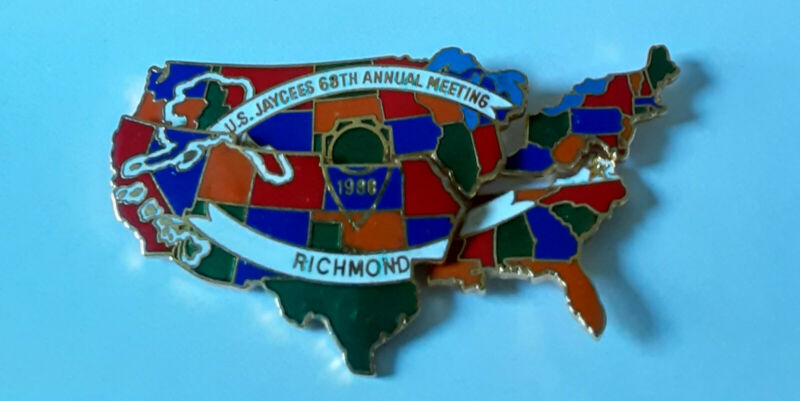 Jaycees 4 pin map of USA Collectible 68th Annual Meeting Richmond VA 1988