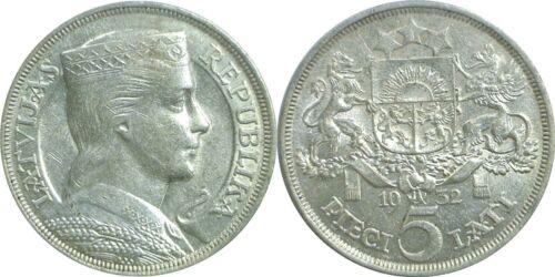 1932 Latvia 5 Lati Silver KM# 9 Extra Fine