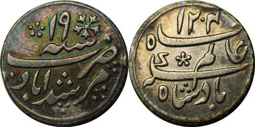 Bengal Presidency AH 1204 RY19 1/4 Rupee, East India Company, Lovely Grade