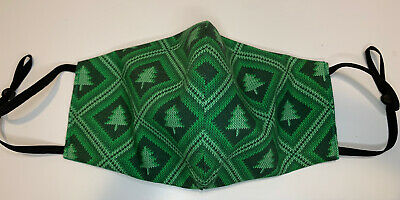 Christmas Sweater Tree Face Mask New Handmade Adult Unisex Reversible Green