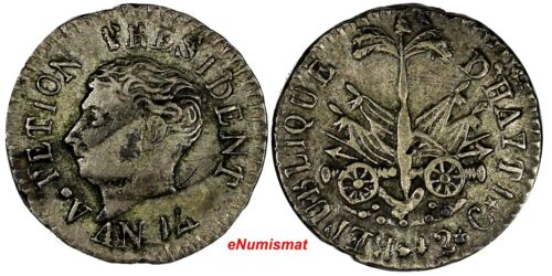 Haiti President Alexandre Petion Silver AN14 (1817) 12 Centimes Toned KM# 14