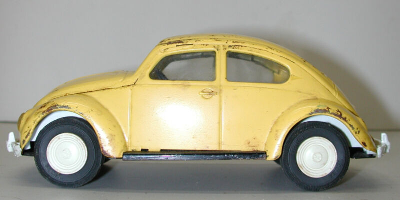 Vintage TONKA 1960 Yellow Steel VW Bug Toy Car