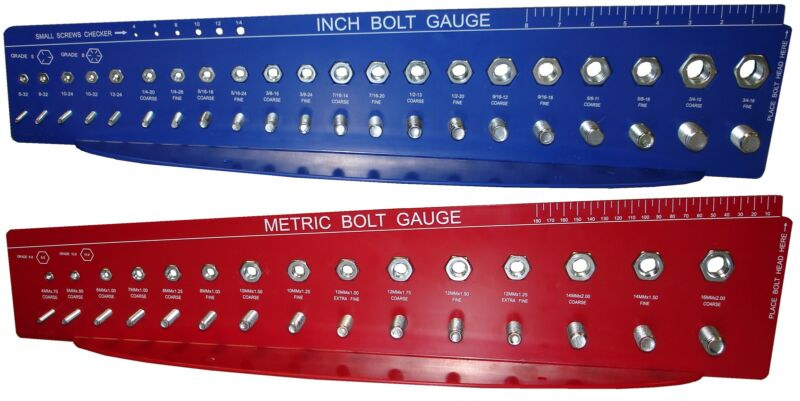 Bolt and Nut Gauges Check a Thread Size Fastener Standard SAE Inch METRIC Guage
