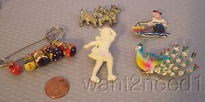 vtg estate lot 5 KITSCHY PINS Celluloid Sailor RHINESTONE SCOTTIES peacock GIRL