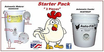 Chicken Starter Set -1 Automatic Waterer 1 No Waste Automatic Chicken Feeder