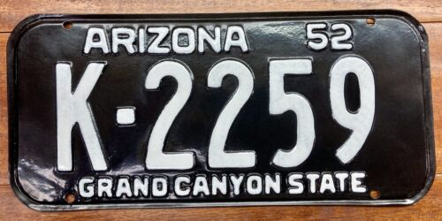 RUSTIC RESTORED 1952 1953 ARIZONA LICENSE PLATE PINAL COUNTY, K 2259, MVD CLEAR