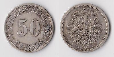C00746 Deutsches Reich 50 Pfennig 1876 A / Silber