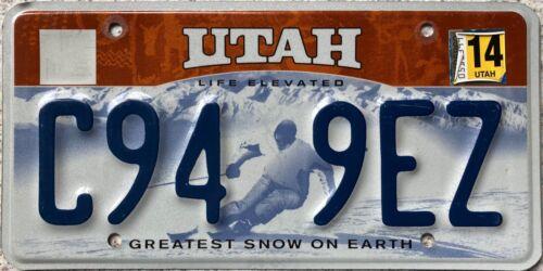 Utah Life Elevated Snow Skier American License Licence Number Plate C94 9EZ