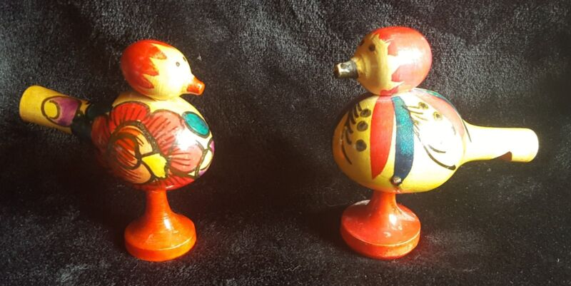 Two Unique Vintage Russian Folk Art Wooden Bird Whistles - Hand Painted