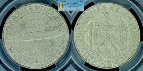 Rare 1930 A Germany silver 5 Marks Zeppelin--PCGS MS 63