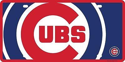 Chicago Cubs Mega Logo Design Premium Laser Tag Acrylic License Plate Baseball