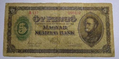 Hungary - 5 Pengo 1926 F Rare Banknote